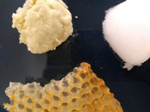 beeswax, coconut oil, shea butter