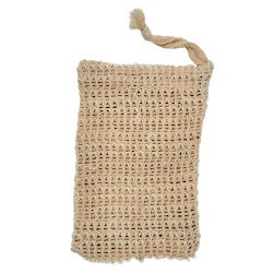 Woven soap bar saver pouch made of agave fiber in front of white background