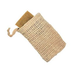 Woven soap bar saver pouch made of agave fiber holding bar of natural soap