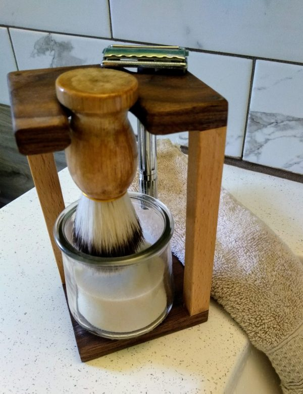 eco friendly shave stand, for clean shaved beard: wooden handled boars hair shaving brush, glass cup with shave soap,