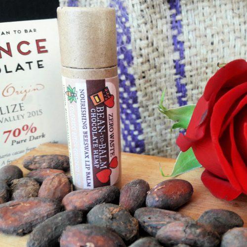 Bean to Balm chocolae hemp lip balm closeup
