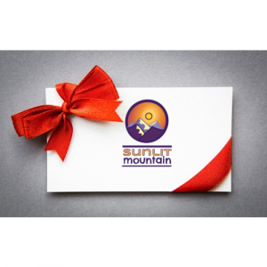 Gift card with red bow from Sunlit Mountain